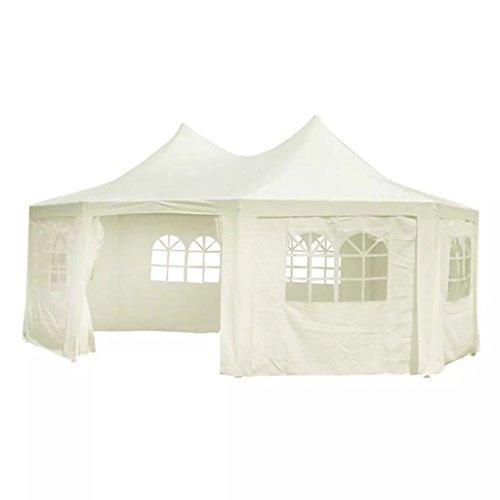 XINGLIEU Baldachinzelt achteckig Partyzelt weiß 6 x 4,4 x 3,5 m Pop Up Zelt Traufenhöhe/Rollhöhe (unter denen Man untergehen kann): 1,95 m