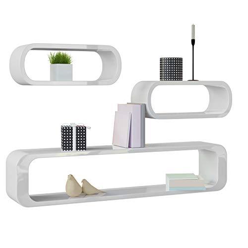 Deuba set di 3 mensole moderne da parete in stile retrò bianco - mobile