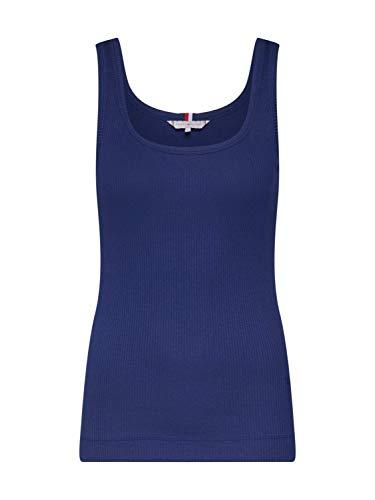 Tommy Hilfiger Damen Sportpullover TH Essential Skinny Rib Tank TOP Blau (Medieval Blue 716) Medium(Herstellergröße:M) - Rib Tank Top