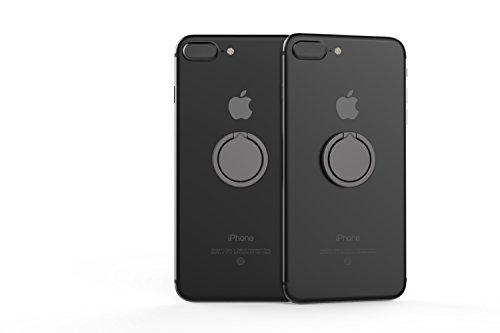 Kronya® | 360° drehbarer Smartphone Fingerhalter | Auto Finger Fitness Griff Halter Halterung Handy Ring Ringhalter Sport Ständer Tablet Apple iPhone iPad 7 8 10 X Samsung Galaxy S8 4 (Schwarz) - 3