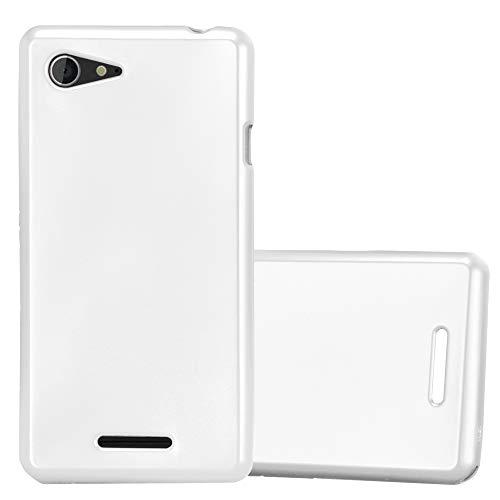 Cadorabo Hülle für Sony Xperia E3 - Hülle in METALLIC Silber – Handyhülle aus TPU Silikon im Matt Metallic Design - Silikonhülle Schutzhülle Ultra Slim Soft Back Cover Case Bumper