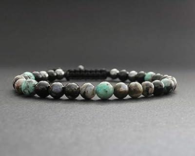 Bracelet homme pierres naturelles opale grise, turquoise africaine, hématite