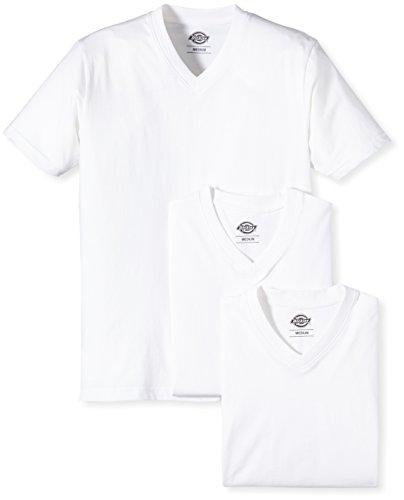 dickies-t-shirt-lot-de-3-streetwear-col-v-homme-blanc-medium
