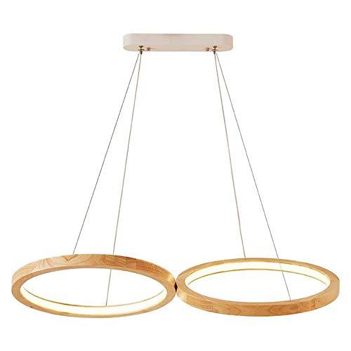 WYJW LED runde Kronleuchter, Nordic Double Holz Kreis Eisen Acryl Esstisch Kronleuchter Deckenleuchten Postmodern Wohnzimmer Cafe Dekoration Pendelleuchte (Edition: 3-farbiges Licht Dimmen)