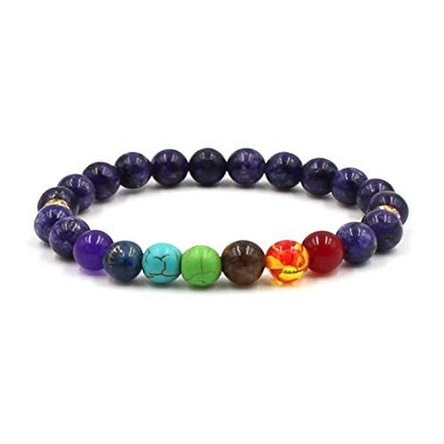 YIYIYYA Mens Bracelets Schwarze Lava 7 Chakra Heilung Balance Perlen Armband Für Männer Frauen Yoga Strass Reiki Gebet Farbigen Steinen, 03.
