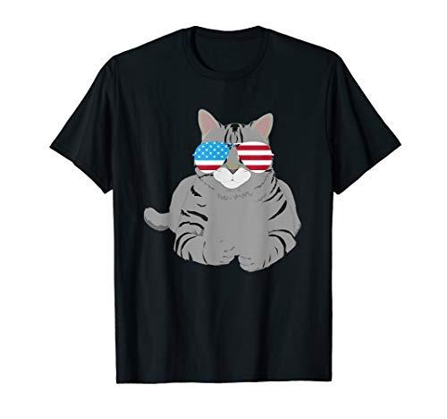 Katze mit amerikanischer Flagge Sonnenbrille - Katze T-Shirt