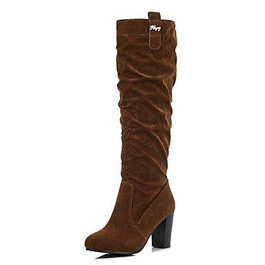 RTRY Scarpe Da Donna In Pelle Nubuck Inverno Moda Stivali Stivali Chunky Tallone Punta Tonda Mid-Calf Scarponi Per Abbigliamento Casual Nero Cammello US4-4.5 / EU34 / UK2-2.5 / CN33