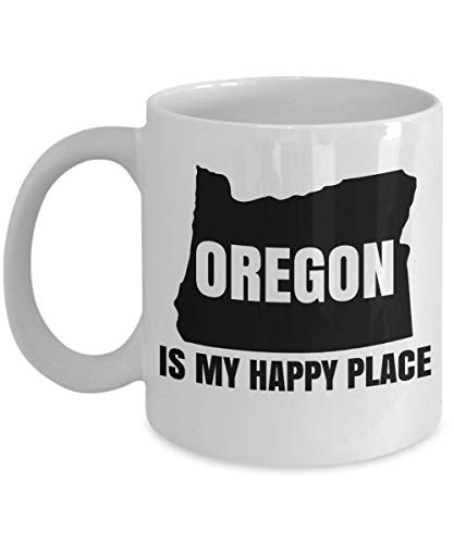 Oregon Is My Happy Place State Map Art Print Coffee & Tea Gift Mug, Office Table Décor, Ornament, Accessories, Products, Items, Merchandise, Travel Souvenirs & Christmas Gifts For Men & Women (15oz)