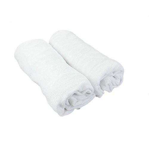 TupTam Babybett Spannbettlaken Frottee 2er Pack, Farbe: Weiß, Größe: 70 x 140 cm