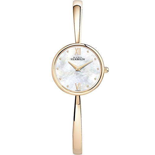 Michel Herbelin Femme 26.5mm Rose Saphire Quartz Montre 17408/BPR19