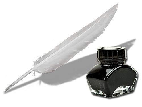 Schreibfeder Federkiel weiß 22-25cm schreibfertig + 30 ml schwarze Kalligraphie Tinte, Forum Traiani, Zeichentusche black ink Set mit Tintenfaß