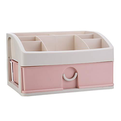 KKY-ENTER Boîte de rangement en plastique cosmétique bureau type de tiroir rouge à lèvres bijoux produits de soins de la peau boîte de stockage stockage 34 * 25 * 20 cm (Couleur : Pink)