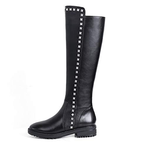EleBoot Frauen Kniehohe Stiefel Nieten Reiten Schnee Komfort Runde Zehe über dem PU Anti Slip/Riding Biker, Black, 38