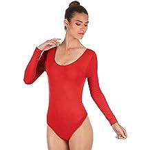 105d7ccd2d Maillot de Danza Ballet Gimnasia Leotardo Body Clásico Elástico para Mujer  de Manga Larga Cuello Redondo