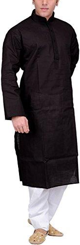 Exotic India Men's Solid Plain Kurta Pyjama Set - Color BlackGarment Size...