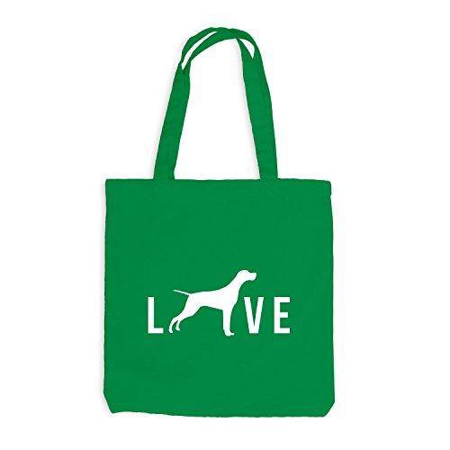 Jutebeutel - Love Dog Live Hunde Doggy Kellygrün