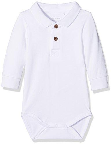 NAME IT Baby-Jungen Nitfikalle LS Polo Body M NB, Weiß (Bright White), 62 (Falten Hemd Baumwolle)