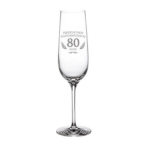 Sektglas mit Gravur zum 80. Geburtstag – Geburtstagsgeschenk für Männer und Frauen – Geschenkidee für Frauen – Glas für Champagner und Prosecco – Sektflöte – Sektkelch – STANDARD Gläser Frauen