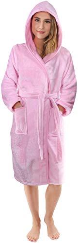 NY Threads Peignoir de Bain pour Femme en Polaire de Flanelle Douce - Robe de Chambre à Capuche Confortable pour Femme (Medium, Rose)