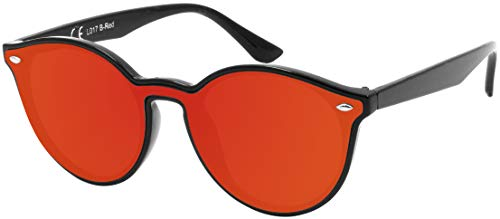 La Optica B.L.M. UV400 CAT 3 CE Damen Frauen Sonnenbrille Oval Rund Monoglas - Einzelpack Glänzend Schwarz (Gläser: Rot verspiegelt)