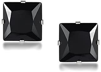 Yellow Chimes Crystal Trending Steel Collection Cubic Zirconia Stud Earrings for Men (Black)(YCSSER-013SQR-BK)