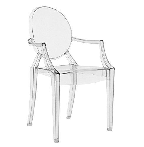 Modern Esszimmerstuhl aus strapazierfähigem Material Wohnzimmer Stuhl Super Büro Restaurant 2 Farben (Transparent)