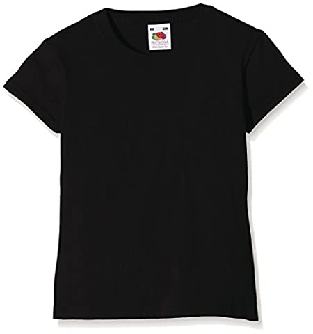 Fruit of the Loom Ss079b - T-Shirt - Manches Courtes - Fille - Noir (Black) - 7/8 Years (Taille fabricant: 30)