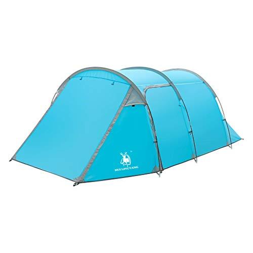 FiedFikt Campingzelt Wasserdicht Camping Zelt für 3-4 Personen Doppelschichtiges einfaches sofortiges Zelt winddicht verschleißfest Hohe Qualität regendicht Stoff Zelt blau -