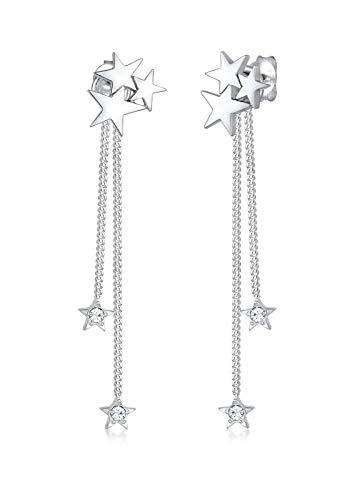 Elli Premium Damen-Ohrhänger Sterne 925 Silber rhodiniert Swarovski Kristalle weiß Facettenschliff 0 cm 0301651617