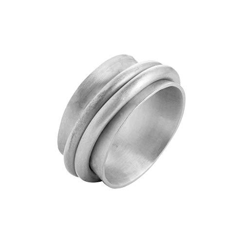 Roberto Leonardi Ring N026, col. Silber, Gr.L 58 - Zeitloses Design aus Messing mit Echtsilber-Plattierung