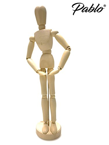 "Premium 12"" (inch) Wooden Artists' Manikin/Mannequin Unvarnished by Pablo�"