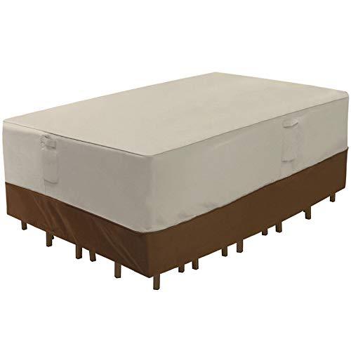 SONGMICS Rechteckige Abdeckung für Terrassentisch, 600D, strapazierfähig, für den Außenbereich, wasserfest und verblasst, 274 x 213,4 x 61 cm (L x B x H) UGTC84EC (Furniture Für Immer Patio)