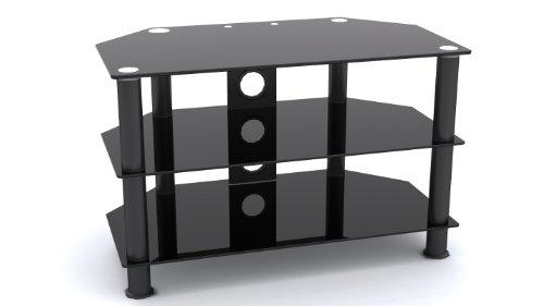 MountRight Umb3 Meuble TV en Verre Noir avec Pieds