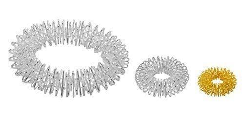 Power-Ring-Set - Armband (Silber) + Ring (Silber groß) + Ring (Gold klein) / Akupressurring/Massagering/Massagearmband/Armmassagering Silber -