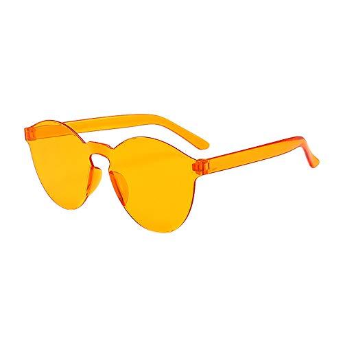 WooCo Schlussverkauf! Randlose Retro Sonnenbrille für Damen und Herren, Brillen Brillen Brillen Klarglas Candy Farbe Brille (F,One size)