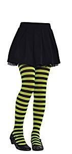 Zubehör Hexe Strümpfe Kostüm - Amscan International Halloween Kinder gestreift Strumpfhosen (grün/schwarz) Small/Medium
