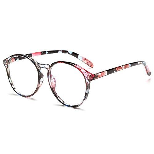 VEVESMUNDO Brillen ohne sehstärke Brillengestelle Brillenfassung Fakebrillen Streberbrille Nerdbrille Pantobrille Damen Herren Retro Rund Vintage Große mit Brillenetui (Blumen)