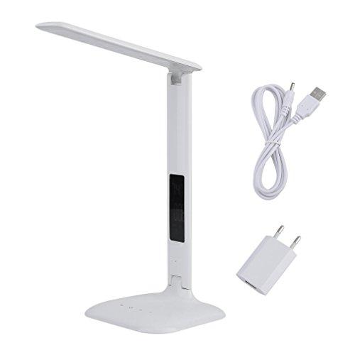 Faltbare LED Schreibtischlampe 7.5W Dimmbar Tischlampe Nachttischlampe Leselampe mit 3 Lichtmodi 2800K-6000K, Touch Bedienung und USB Wiederaufladbar mit LCD-Display