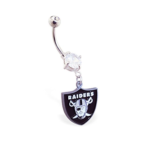 mspiercing Bauch Ring mit Official Licensed NFL Charme, Oakland Raiders