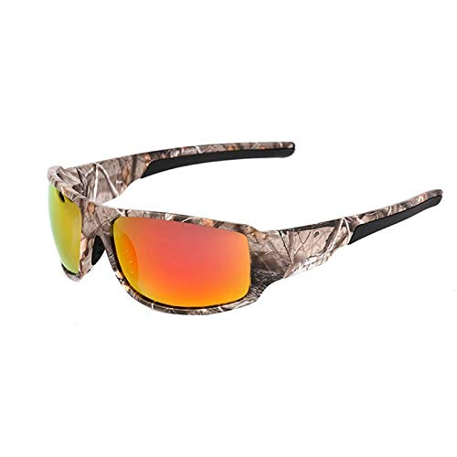 Camouflage Polarized Fishing Glasses Männer Frauen Radfahren Wandern Fahren Sonnenbrille Outdoor Sport Eyewear Camo Reiten Winddicht (Color : Camouflage red)