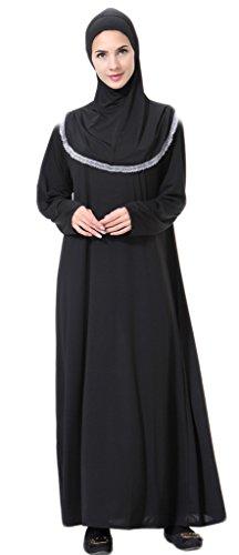 Auspicious beginning Muslimische bescheiden volle Deckung Loost Fit Thobe mit Hijab Dubai einfarbige elegante Maxi-Kleid Kaftan Abaya (Print-rohr-maxi Kleid)
