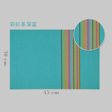 FERZA Home PVC45 * 30 Bunte bar europäischen isoliert tischset tischdecke pad westlichen Geschirr pad Platte Platz (Color : Blue, Size : Square) Blue Square Platte