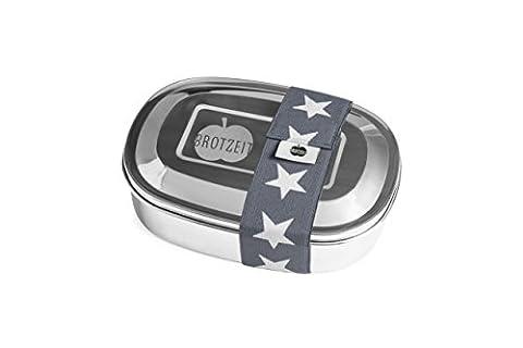 Brotzeit Boîte à lunch avec division en acier inoxydable - boîte à pain - Lunchbox (Etoiles Gris)