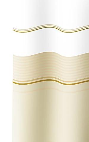 Vinyl Duschvorhang Badewanne mit Ringen VANIGLIA Steifen in braun - weiß und beige Tönen, Wannenvorhang Größe ca. 240x200