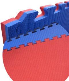 Wendematte Professional, rot/blau, 1 x 1 Meter, ca. 2 cm dick, Puzzlematte / Steckmatte / Bodenmatte / Sportmatte / Spielteppich / Unterlegmatte / Kampfsportmatte / Turnmatte