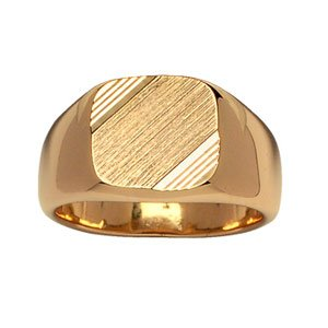 1001 Bijoux - Chevalière plaqué or moyen plateau carré diamantage strié - tour de doigt 69