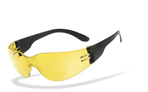 HSE SportEyes® | UV400 Schutzfilter, nachtsicht HLT® Kunststoff-Sicherheitsglas nach DIN EN 166 | Sportbrille, Radbrille, Sonnenbrille, Nachtbrille| Brillengestell: schwarz, Brille: Sprinter 2.0
