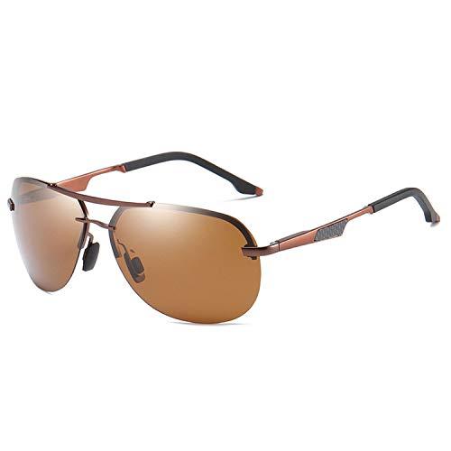 Life's A Struggle Retro polarisierte Mann-Sonnenbrille Mode Randlos Aufmaß Pilot Sonnenbrillen Carbon-Faser-Tempel Brillen UV400, TEA TEA -
