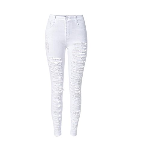 Byjia Jeans High Waisted Womens Skinny Denim Disco Stretchy Reißverschluss Pocket Leggings Ripped Frayed Pants Slim Bleistift Hose . White . 38 -