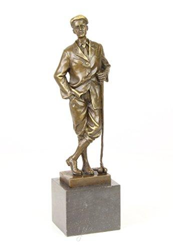 Ekershop statue motif golfeur sur socle golfeur bronze vintage hauteur 32 cm